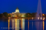 Photo: Legislative Building Night Reflections Regina City Saskatchewan