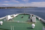 The bow of the Marine Atlantic Ferry as the boat leaves the port of North Sydney, Nova Scotia on route to Port aux Basques, Newfoundland.