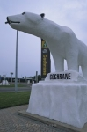 A welcome sight for all visitors is a statue of a Polar Bear which is the mascot for the town of Cochrane, Ontario.