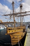 The replica of the Matthew, a ship sailed by John Cabot, is moored along the dock in Bonavista, Newfoundland.