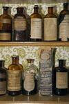 Shelves at the Sherbrooke Drug Store in Sherbrooke, Nova Scotia are lined with ancient medicine bottles dating back to the 1880's.