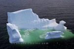 An aerial view of the beauty of a melting iceberg which has made its way to the Strait of Belle Isle in Southern Labrador in Newfoundland Labrador.