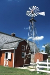 A windmill and barn are part of the displays at the Mennonite Heritage Village in Steinbach, Manitoba.