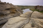 The Milk River meanders its way along the Hoodoos Interpretive Trail in Writing on Stone Provincial Park in Southern Alberta, Canada.