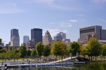 From the Bonsecours Basin in Old Montreal and Old Port in Quebec, Canada you can view the tall buildings that make up the downtown core of Montreal.