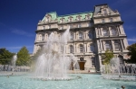 Beautiful fountains displayed outside the Montreal City Hall in Place Vauquelin along the Notre-Dame in Old Montreal, Quebec.