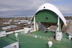 The massive bow visor of the MV Caribou Ferry is lowered as it departs from North Sydney, Nova Scotia for another daily trip to Newfoundland.