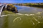 The Reversing Falls under the bridge which crosses the Saint John River in New Brunswick, Canada is amazing to watch when the tide changes.