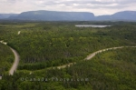 Roads wind around Berry Hill Campground and Rocky Harbour in Gros Morne National Park in Newfoundland Labradror, Canada.