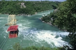 A Spanish Aero Car crosses the Niagara River at the Niagara Whirlpool, Ontario, Canada.