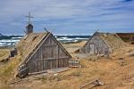 The huts and buildings at the Norstead Viking Site on the Great Northern Peninsula of Newfoundland, Canada have been recreated for tourists to view.