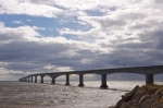 The Confederation Bridge spans the Northumberland Strait in Queens, Prince Edward Island for nine miles.