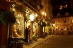 The night scenery along the Rue Sous le Fort in the Quartier Petite Champlain in Old Quebec, Canada is very romantic and peaceful as the buildings glow from the lights.