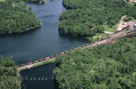 Aerial view of the railway and the 30,000 Islands in Parry Sound, Ontario in Canada.