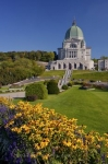 Beautiful gardens surround the Saint Joseph's Oratory of Mount Royal in Parc du Mont-Royal in Quebec, Canada.