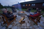 A pleasant evening around the outdoor fire pit at the Rifflin'Hitch Lodge in Southern Labrador in Labrador, Canada.