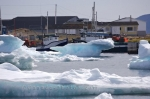 Fishing boats will not be leaving Conche Harbour in Newfoundland, Canada for a while until these massive ice formations melt.