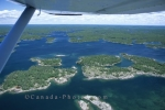 An aerial shot of the 30000 Islands in Parry Sound taken from a water plane journey in Ontario, Canada.