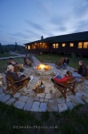 The outside patio around the firepit at the Rifflin'Hitch Lodge in Southern Labrador, Canada is an ideal place for conversation.