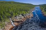 From the Labardor Coastal Drive in Southern Labrador, Canada, the water in the Pinware River rages where it has carved a natural gorge through the landscape.