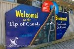 At the southern tip of Canada in Point Pelee National Park in Leamington, Ontario, a large welcome sign is displayed on the building for visitors to the area.