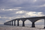 The Northumberland Strait swirls around the concrete spans of the Confederation Bridge that crosses between Prince Edward Island and New Brunswick.