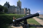 The Terrasse Dufferin Hotel is located near the boardwalk in Quebec City, Canada where you pass this large cannon exhibit.
