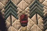A Canadian Mountie and trees are the pattern that was created on this quilt that is on display at a quilt shop in Elmira, Ontario.