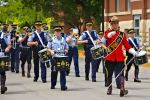 The band members attending the RCMP Academy in the City of Regina, Saskatchewan perform at the Sargeant Major's Parade and Graduation Ceremony, led by Sergeant Bob Beaudoin.