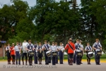 Dressed in uniform, members of the RCMP Academy in Regina, Saskatchewan, play in the band at the Sargeant Major's Parade and graduation ceremony.