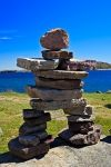 With the proper rocks, an Inukshuk can be made like this one which adorns the shores of Red Bay located along the Labrador Coastal Drive in Southern Labrador, Canada.