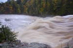 The flooding Chippewa River in Ontario, Canada rages over the falls as the Autumn trees display an array of colours along the banks.