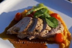 Picture yourself sitting down to dinner to enjoy this gourmet meal of roast pork tenderloin made for the guests at the Rifflin'Hitch Lodge in Southern Labrador, Canada.