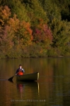 As Autumn hues laden the shores of Rock Lake in Algonquin Provincial Park in Ontario, Canada, a woman enjoys the serenity of the area while canoeing at sunset.
