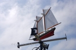 A sailboat is the design that is attached to this weathervane in the town of Louisbourg in Cape Breton, Nova Scotia.