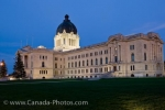 The Saskatchewan Legislative Building glows during the early evening in the city of Regina.