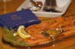 A seafood platter consisting of a nice arrangement of salmon slices is one of the food items served at the Rifflin'Hitch Lodge in Southern Labrador.