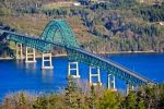 An overlook on Kelly's Mountain has a beautiful view of the Seal Island Bridge that crosses the Bras d'Or in Nova Scotia, Canada.