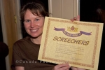 Michelle gets her Screechers certificate which she deserved after having Screech Shooters at the Tuckamore Lodge in Main Brook, Nwefoundland.
