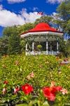 On the Spring Garden Road in the Halifax Public Gardens in Nova Scotia, Canada you will arrive at the Band Rotunda surrounded by blossoming Spring flowers.
