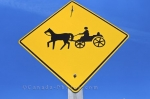 A street sign in the Mennonite village in St. Jacobs, Ontario in Canada warns people to be aware of a horse and buggy crossing the road.