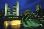 The City Hall of Toronto at night with lit fountain - downtown Toronto, Ontario, Canada, North America.