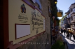 A sign aids tourists in their adventure around the historic Quartier Petite Champlain in Old Quebec in Quebec, Canada.