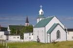 Two churches, the Holy Trinity Roman Catholic Church and St. Paul's Anglican Church in the town of Trinity in the Bonavista Peninsula in Newfoundland, Canada.