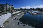 The busy harbour in downtown Victoria is a popular place to visit on Vancouver Island, BC.