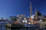 Docked at the Queen's Landing Wharf at the Halifax waterfront, is the tall ship, The Mar.