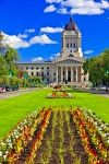 The flower gardens outside the Legislative Building in the City of Winnipeg, Manitoba come to life in beautiful colors during the spring and summer.