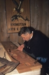 A Quw'utsun wood carver works in the Cultural Centre in Duncan on Vancouver Island, British Columbia.