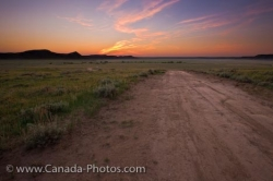 Big Muddy Badlands Farmland Road Sunset Southern Saskatchewan