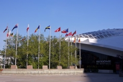 Biodome Entrance Flag Display Montreal